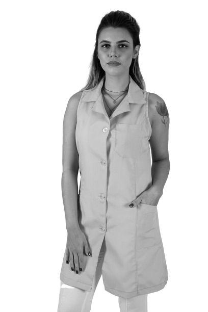 JALECO BRANCO DE TECIDO OXFORD FEMININO REGATA - LOJÃO DA SAÚDE