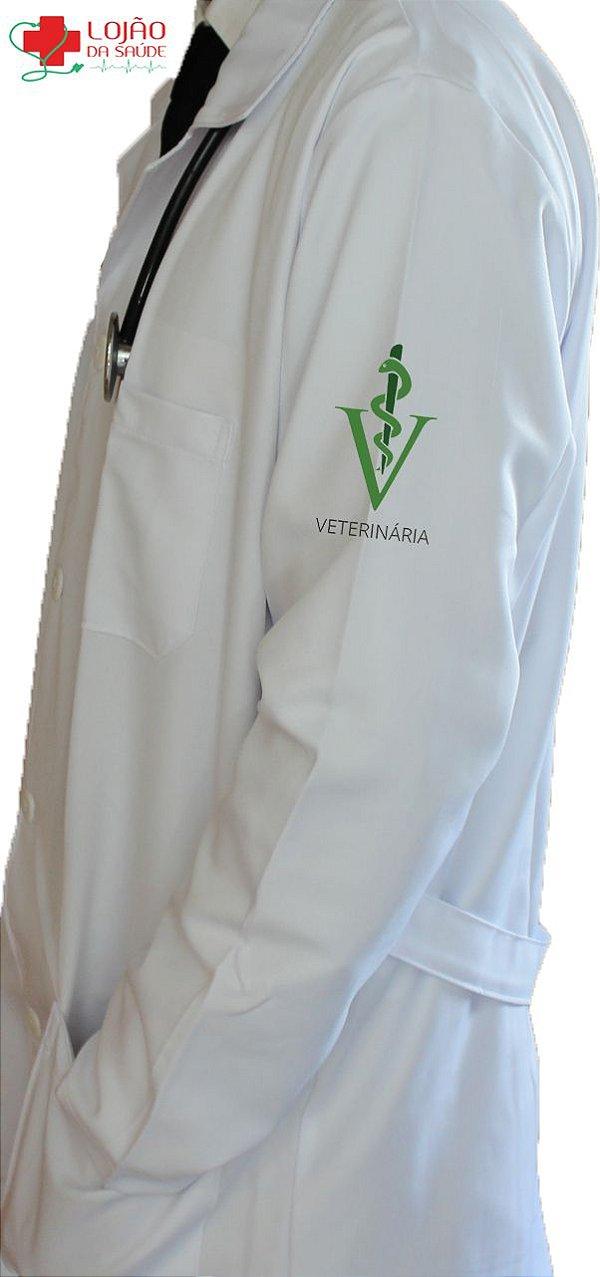 JALECO BRANCO de Tecido GABARDINE Masculino de manga longa Com logo MEDICINA VETERINÁRIA bordado - Lojão da Saúde
