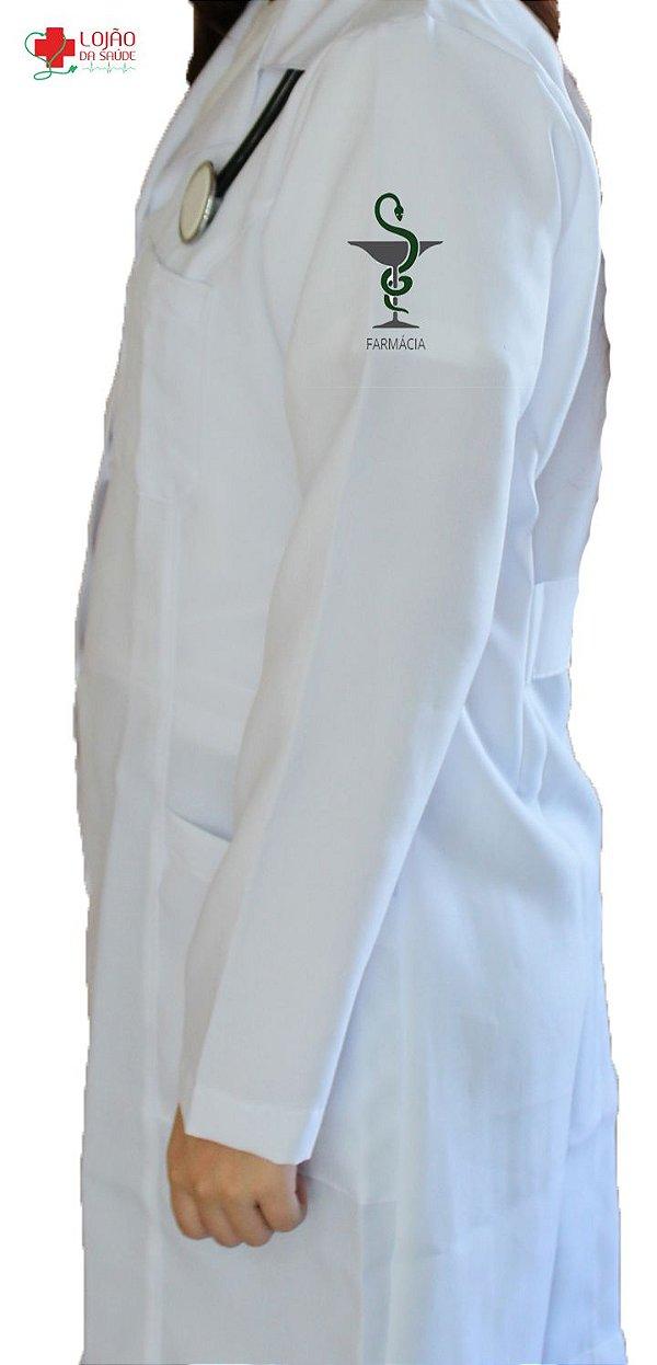 JALECO BRANCO de Tecido GABARDINE Feminino de manga longa Com logo FARMÁCIA bordado - Lojão da Saúde