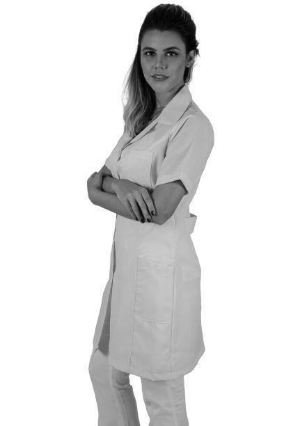JALECO BRANCO de Tecido OXFORD Feminino de manga curta - Lojão da Saúde