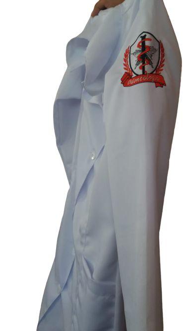JALECO BRANCO de Tecido GABARDINE Masculino de manga longa Com logo ODONTOLOGIA e nome bordado - Lojão da Saúde