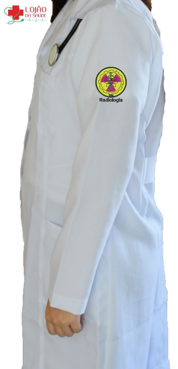 JALECO BRANCO de Tecido MICROFIBRA Feminino de manga longa Com logo RADIOLOGIA bordado - Lojão da Saúde