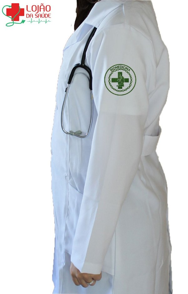JALECO BRANCO de Tecido OXFORD Feminino de manga longa Com logo BIOMEDICINA bordado - Lojão da Saúde
