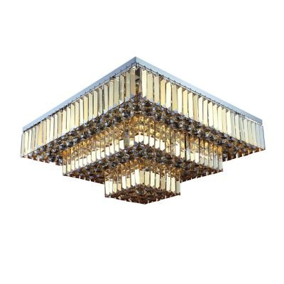 Plafon Sobrepor de Cristal Carré 33cmx67cmx67cm Bella Iluminação Âmbar AQ017A