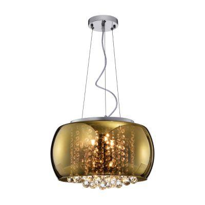Lustre/Plafon Soho Vidro Dourado e Cristais Transp. 40cm - Bella Iluminação - PD002G
