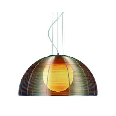 Pendente 40cm Lampada E27 Wire Metal Alumínio Vidro GA007C Cromado e Café - BELLA