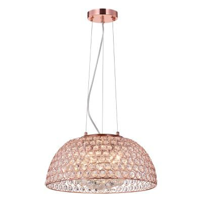 Pendente Bells Metal Cobre E Cristal 40cm - Bella Iluminação - Pd009s Bivolt
