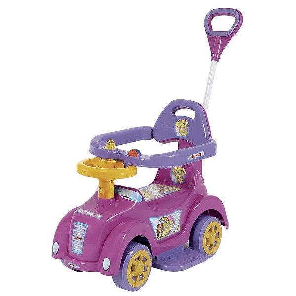Carrinho e Andador Rosa Baby Car para Bebê com Empurrador M
