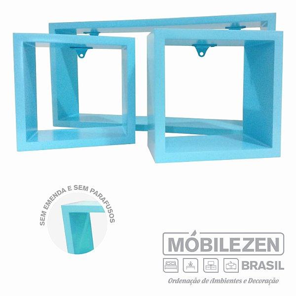 Nicho decorativo  Azul bebê para quarto menino In colors em MDF  - 03 Peças