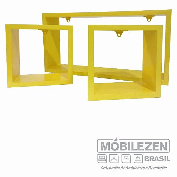 Nicho decorativo Amarelo Real em MDF Móbilezen  - 03 Peças