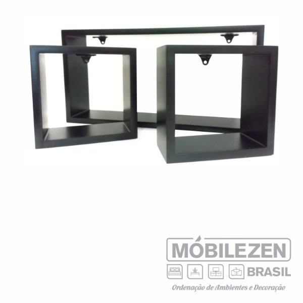 Nicho decorativo preto fosco em MDF  Móbilezen - 03 Peças