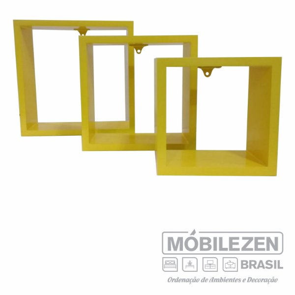 Nicho Decorativo  Amarelo Real em Mdf  In Colors Móbilezen- 03 Peças