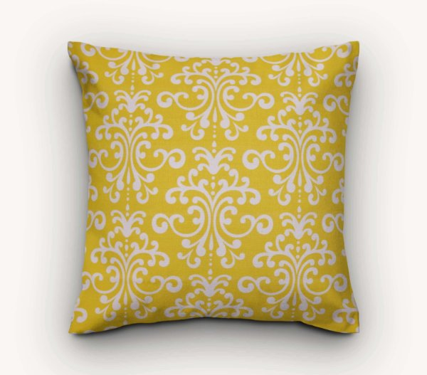 Capa de Almofada Amarela Arabescos