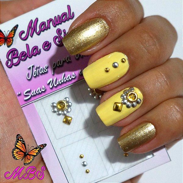Jóia para Unha Cristal Amarelo com Pingente Dourado Manual Bela e Simples