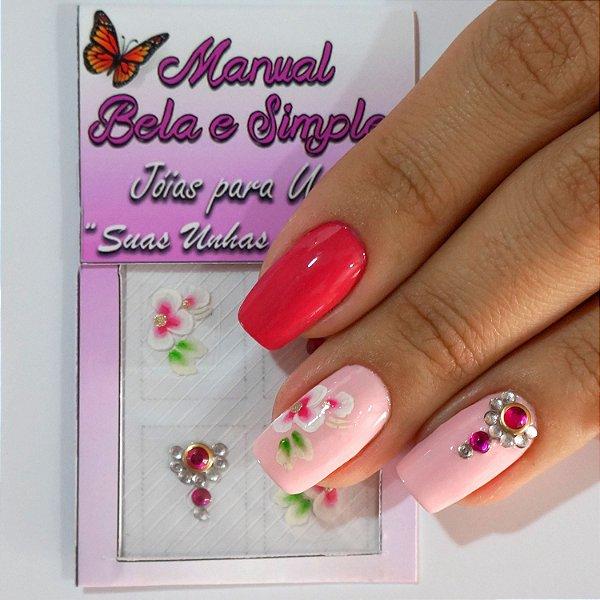 Jóia para Unha Olho de Gato Rosa e Flor Carga Dupla Manual Bela e Simples