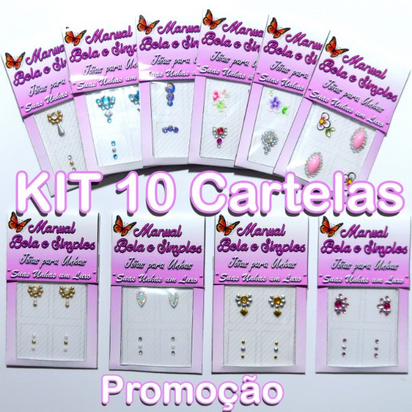 Kit 10 Cartelas de Jóias para Unhas PROMOÇÃO