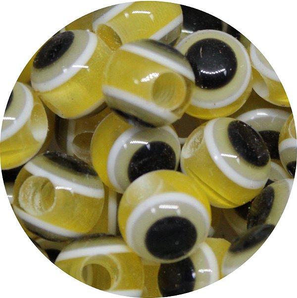 Miçanga Pesca Olho Grego Amarelo - Furo Maior 10mm