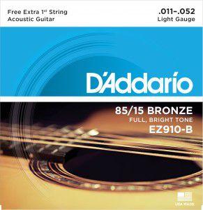 Encordoamento Violão D'Addario EZ-910-B, Leve, 11-52