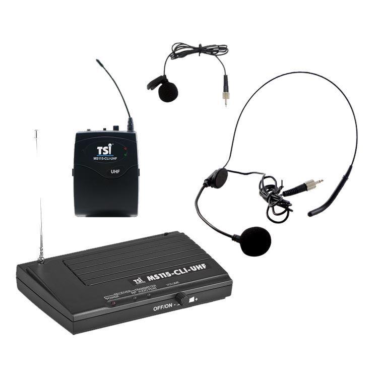 Microfone TSI MS-115 CLI UHF, headset + lapela