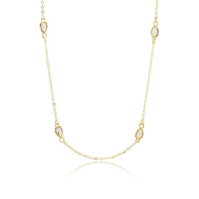 Colar Inspired Tiffany com Gota Cristal - Folheado a Ouro