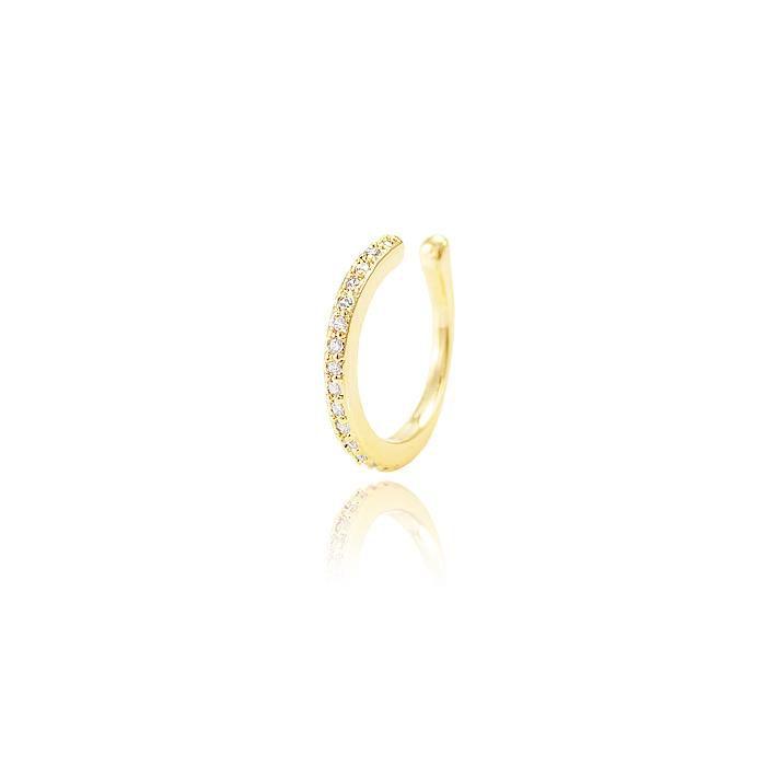 Brinco Piercing Fake com Micro Zircônia Cristal - Folheado a Ouro