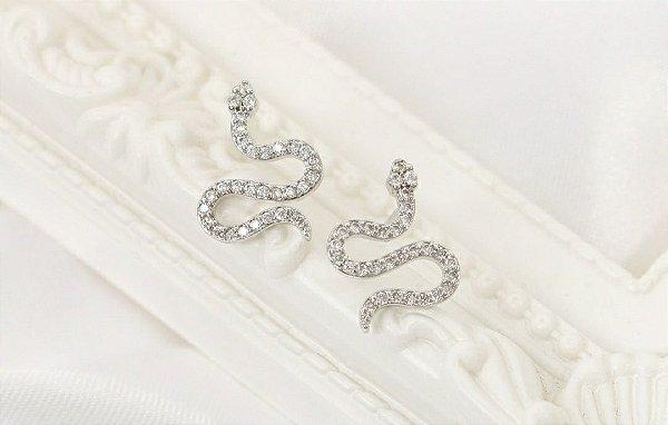 Brinco Snake com Micro Zircônias - Ródio Branco