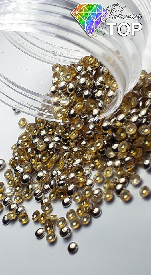 Dome dourado Claro ( gold)  2mm - 500 unidades