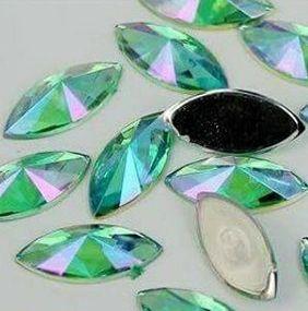 Pedra de luxo navete 3d verde - 50 unidades