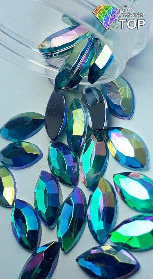 Navete espelhado azul claro 5x10 - 30 unidades