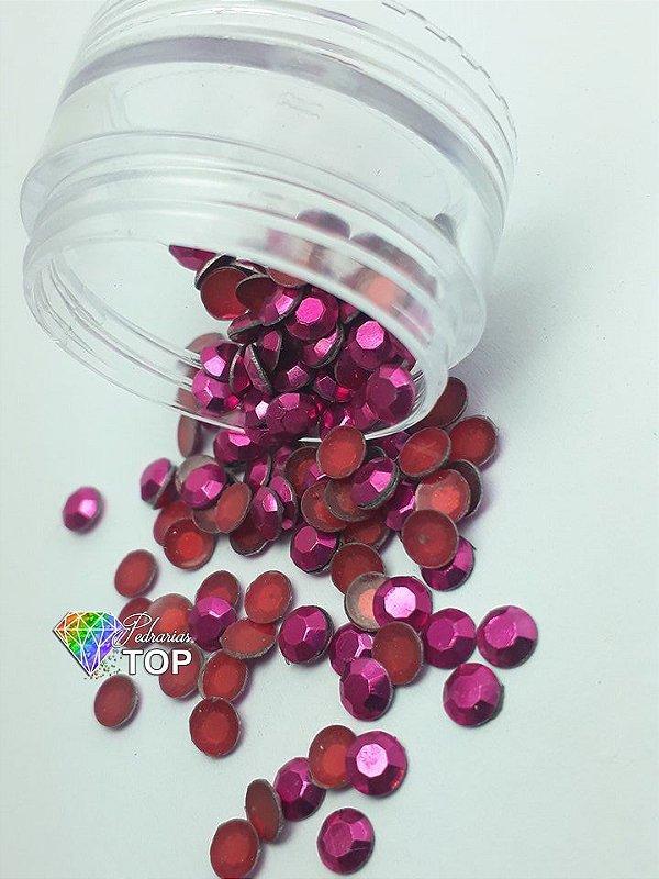 Pedra sextavada cor pink 4mm - 100 unidades