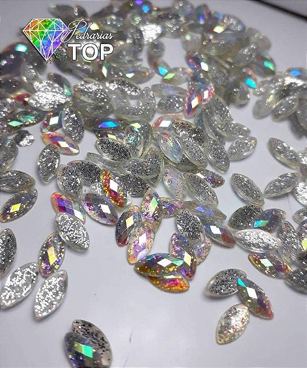 Navete luxo cristal c/ glittler 4x8 - 50 unidades