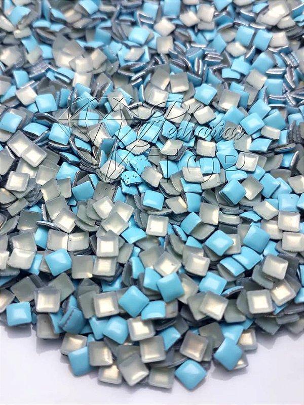 chapinha quadrada azul bebê 3mm - 100 unidades