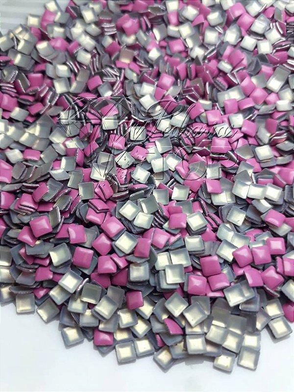 chapinha quadrada rosa 3mm - 100 unidades