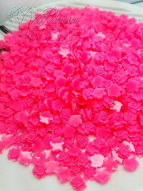 Rosas 3d cor rosa choque 5mm - 30 unidades