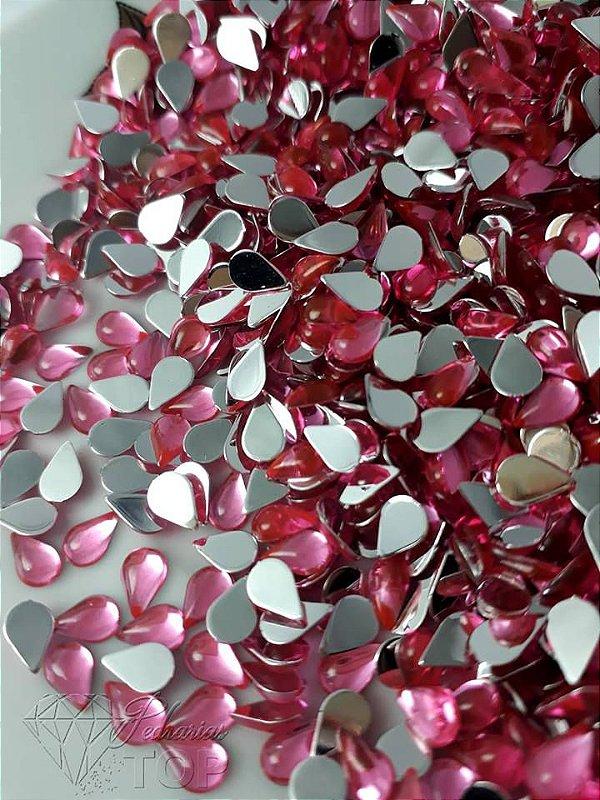 Pedra da lua gota rosa 3x6 - Aprox. 50 unidades