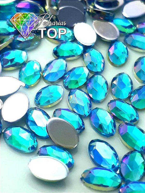 Pedra oval lapidada 4x8 c/ 50 unidades - AZUL MAR AB