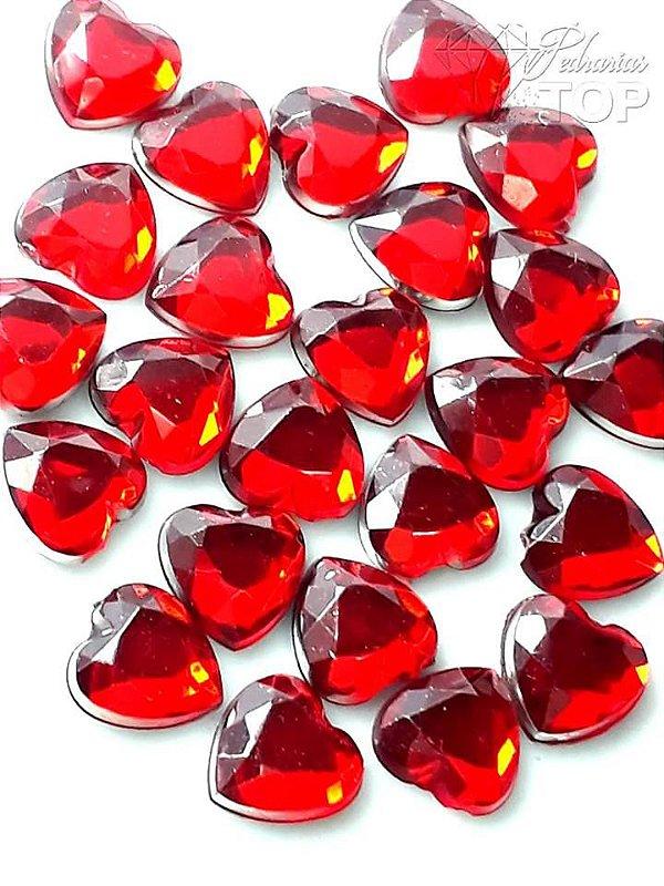 Pedra coração 6mm c/ 10 un. - VERMELHO