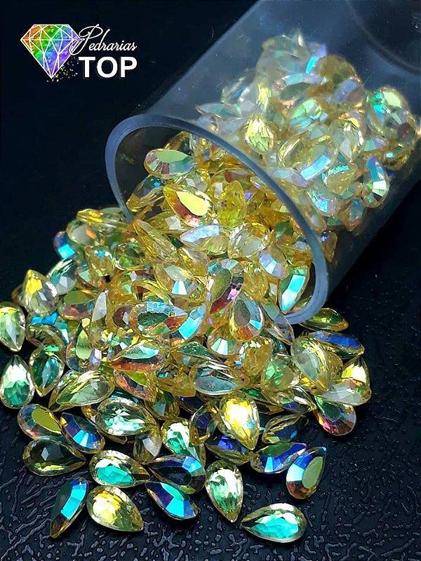 Pedra cristalina formato gota 4X6 c/10 un. - REF. 006