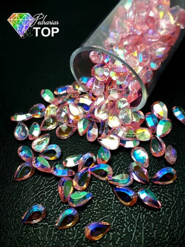 Pedra cristalina formato gota 3x5 c/10 un. - REF. 007