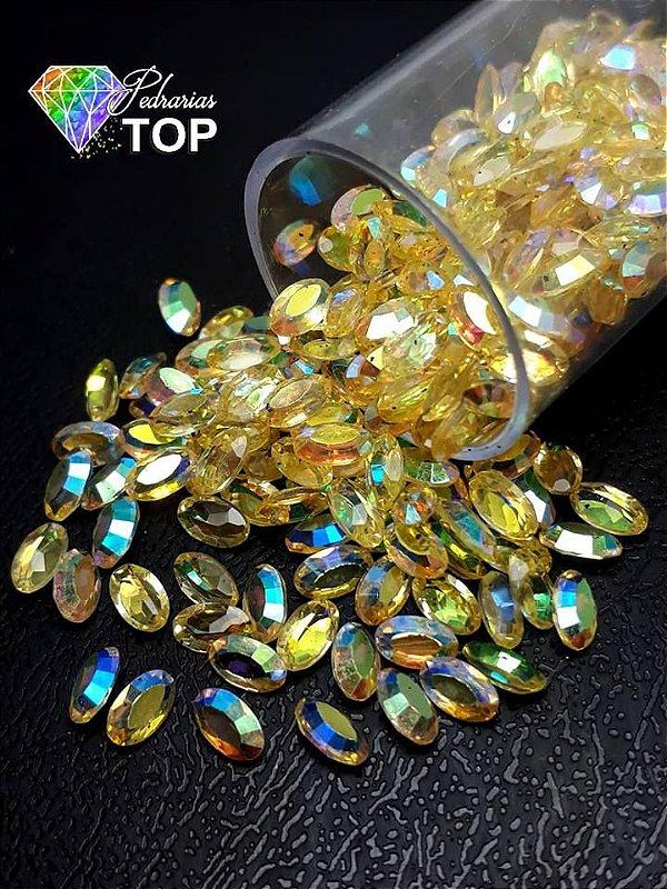 Pedra cristalina formato oval  3x5 c/10 un. -  REF. 010