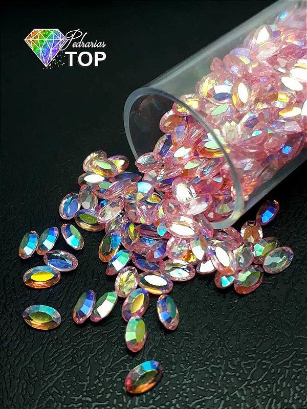 Pedra cristalina formato oval  3x5 c/10 un. -  REF. 011