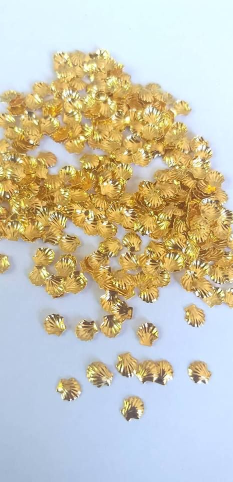 Metal para decoração unha concha dourada c/10pcs