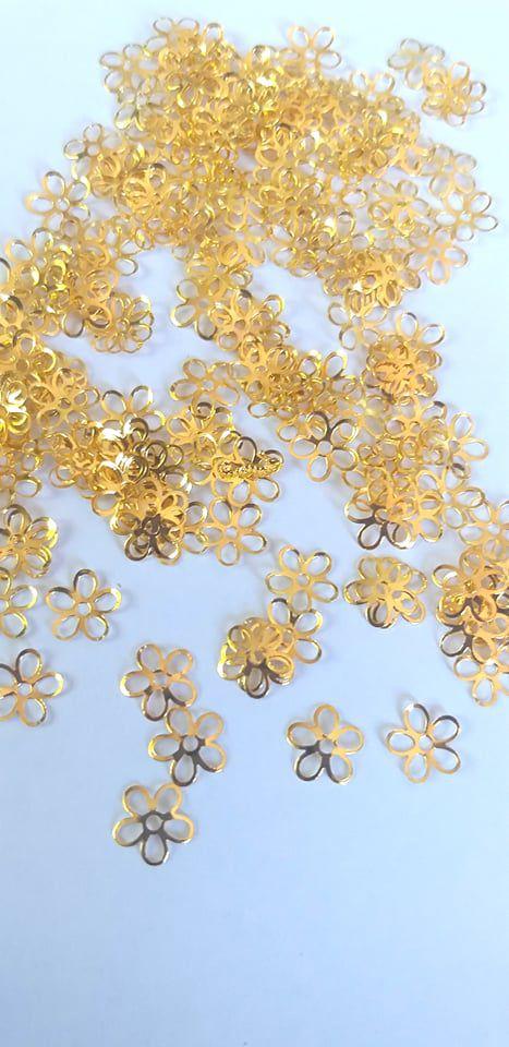 Metal para decoração unha flor dourada c/10pcs