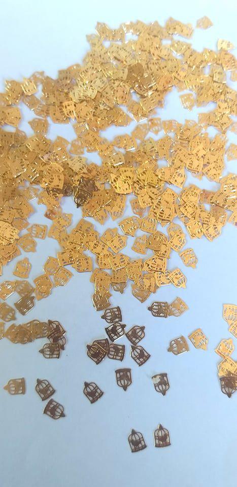 Metal para decoração unha gaiolinha dourada c/10pcs