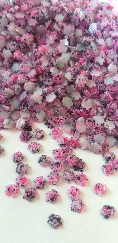 Rosa luxo 3d mesclada pink/preta 4,5mm - 30 unidades