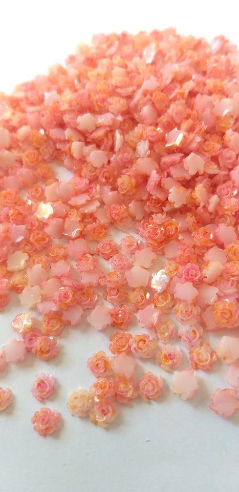 Rosa luxo 3d mesclada laranjada 4,5mm - 30 unidades