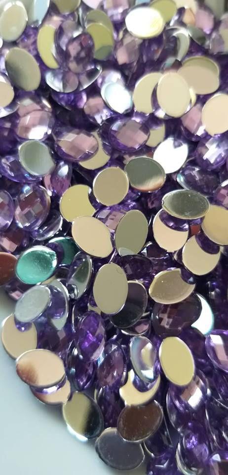 Chaton oval lilás 6X8 - 30 unidades