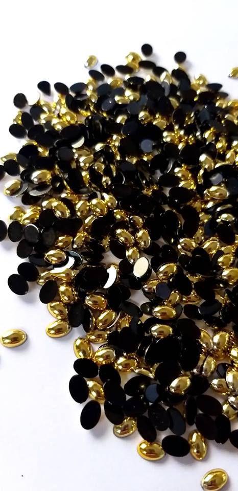Chaton oval ouro 4x6 c/ 30 pcs
