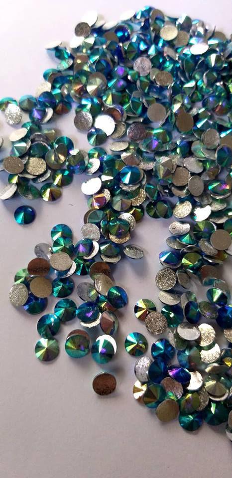 Rivoli redondo azul ab 6mm - 30 pcs