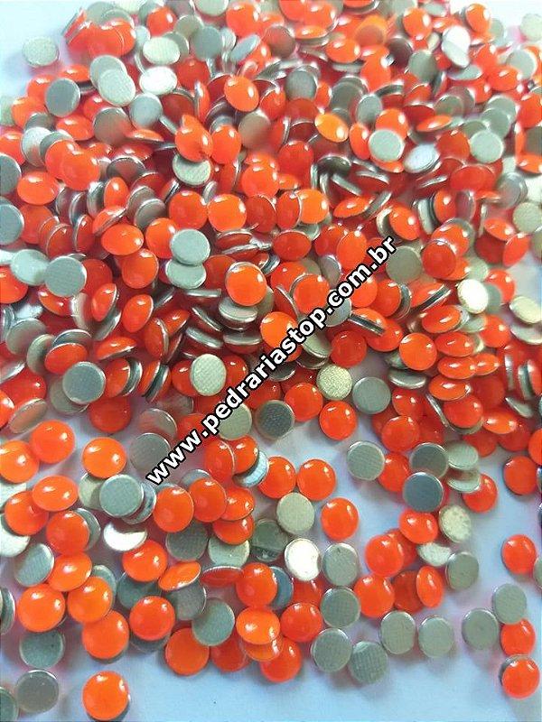 Chaton redondo epoxy laranjado - Aprox. 40 unidades